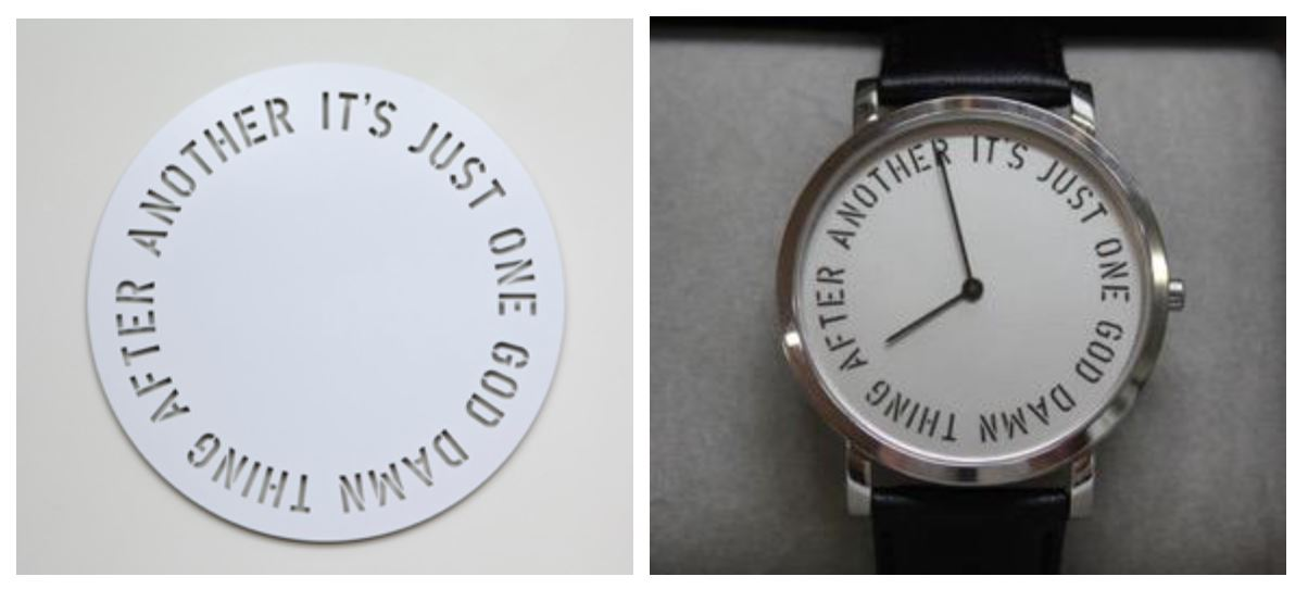 The left is a wall sculpture and the right is a wearable editioned wristwatch.