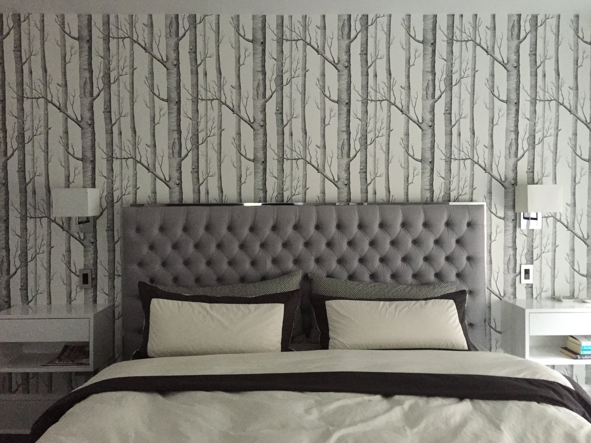 Photo of installed wallpaper in our bedroom.