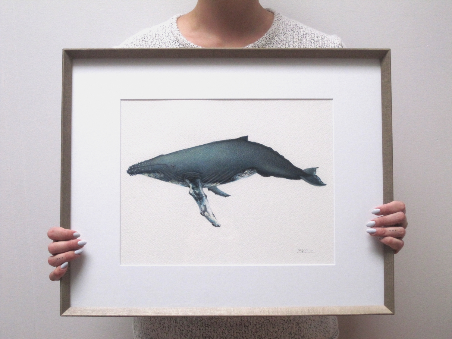 """""""George""""  Humpback Whale Original Painting, Framed"""