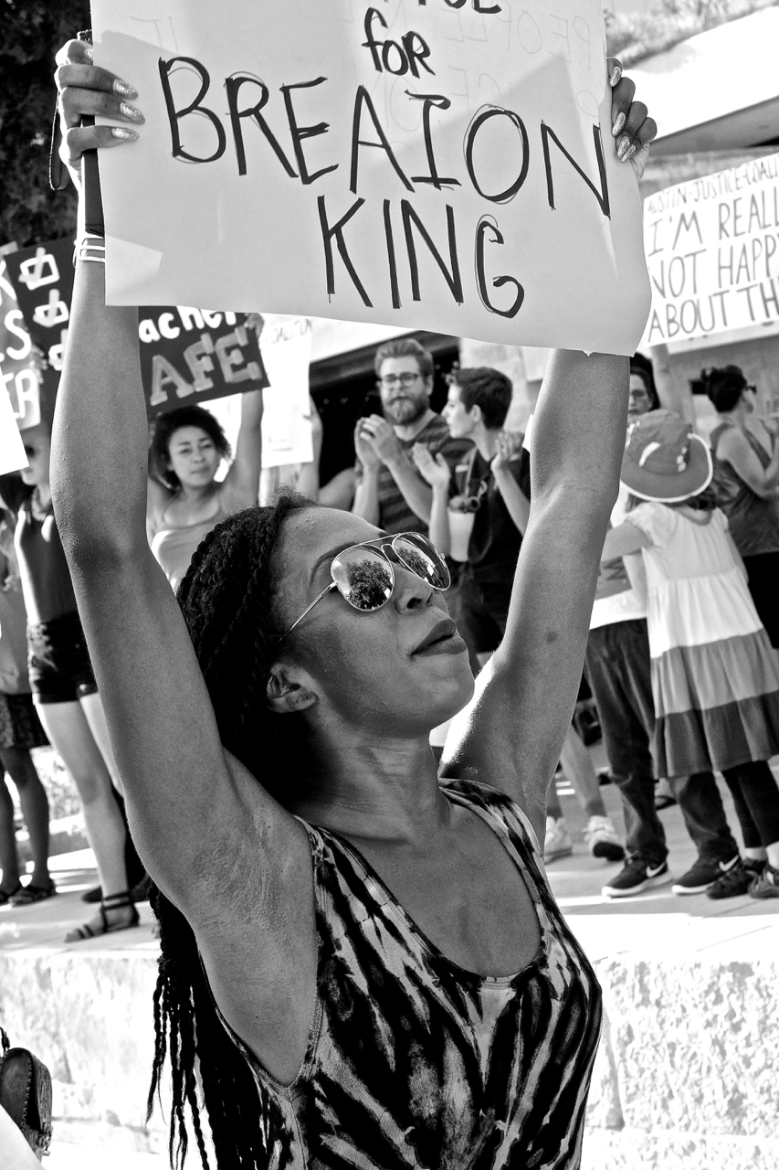 The Aug. 4, 2016, Black Women Matter: Protest Against Police Brutality rally held at Austin City Hall addressed the violent June 15, 2015, arrest of an African-American elementary school teacher, Breaion King, who was yanked from her car and twice thrown to the ground by a white police officer during a traffic stop for speeding.