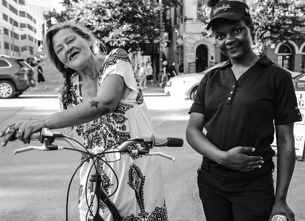 Ruby Red, left, and Zalika Marina, friends on Sixth Street.