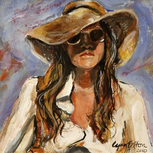 """The Savvy Traveler, Acrylic on Paper, 8""""w x 8""""h, SOLD"""