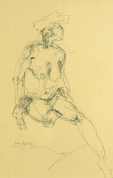 """Nude Study, Pen and Ink, 18"""" x 12"""""""