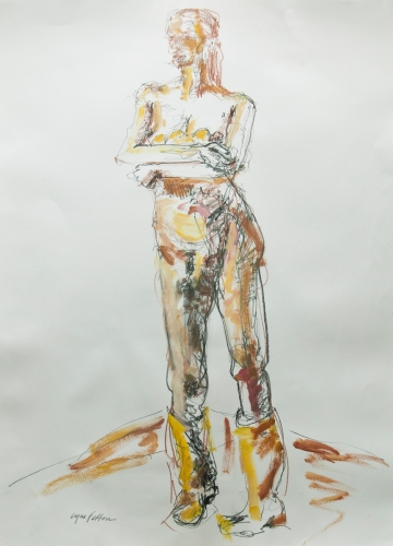 """Those Yellow Boots, Mixed Media on Paper, 22"""" x 30"""""""