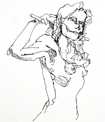 """Working Girl, Pen and Ink, 18"""" x 12"""""""