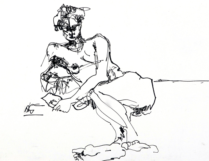 """Repose, Pen and Ink, 12"""" x 18"""""""