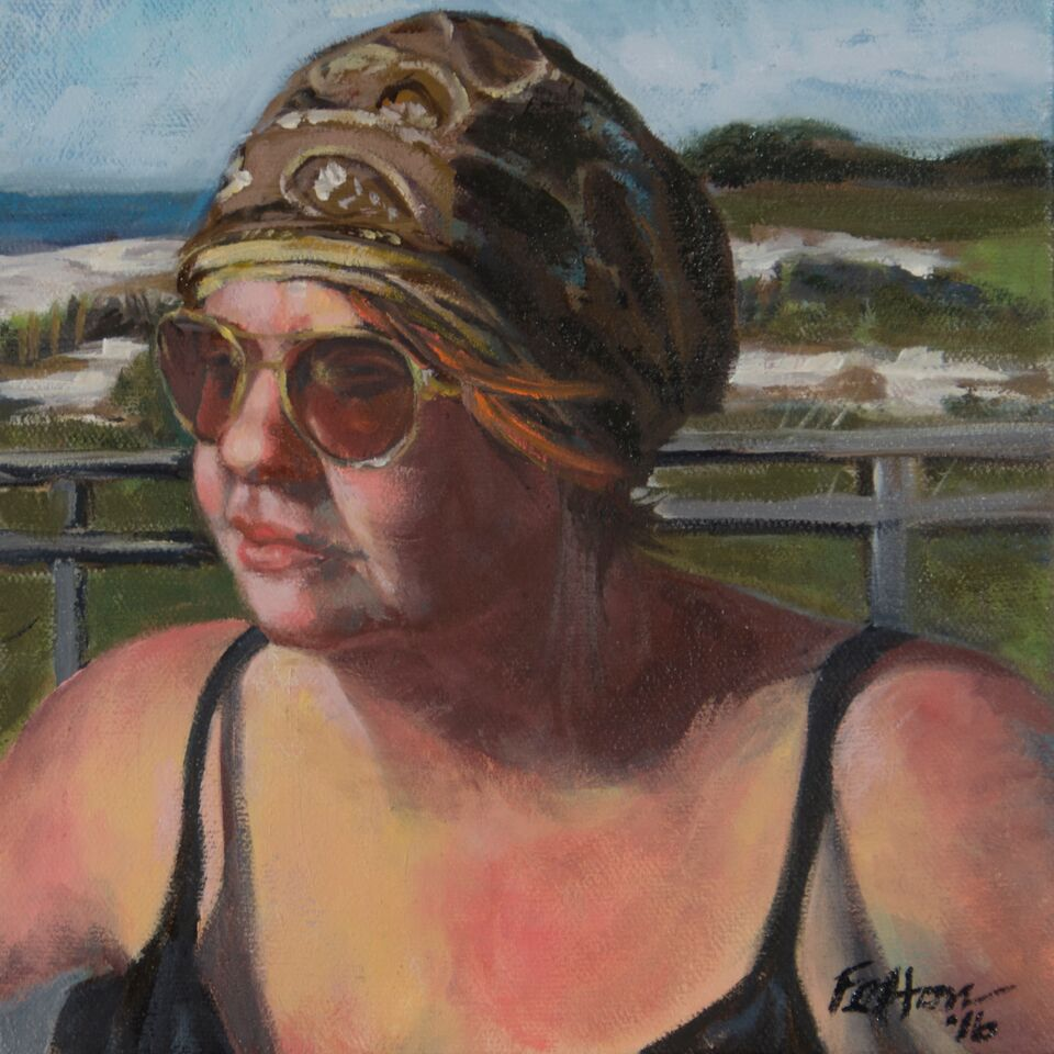 "Sun on My Face, Oil on Canvas, 8""w x 8""h x2""d  SOLD"