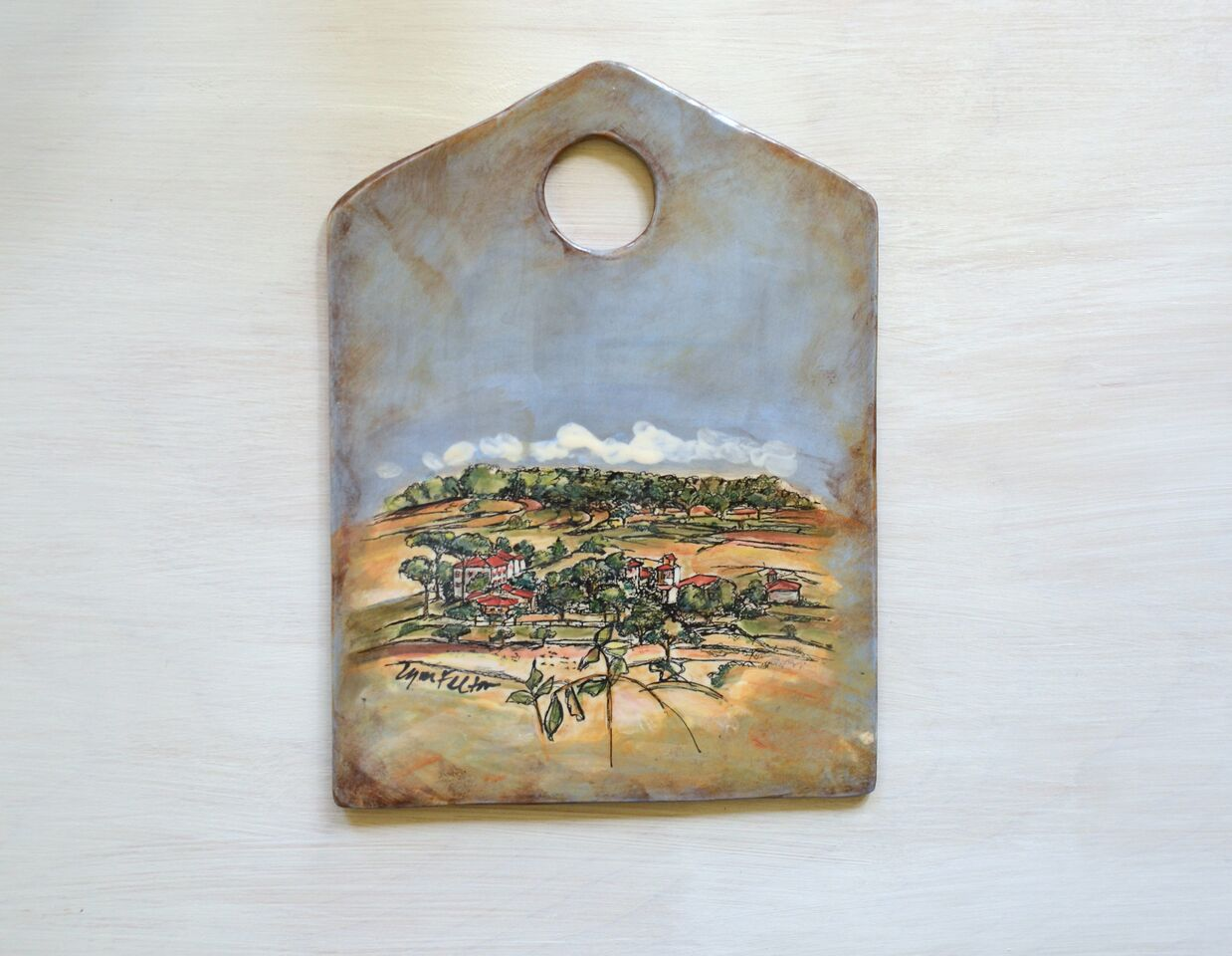"Cheese Board, Tuscan Landscape, Low Fire Clay, Screenprinted w/ Underglaze and Glaze, 8 1/2""w x 11 1/2""h x 1/4""d"