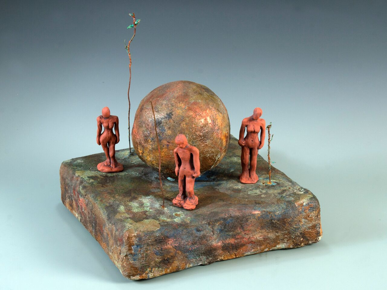 "Different Stories, All the Same, Earthenware Clay, Wire, Concrete, Acid Stain, 12""w x 8""h x 12""d"