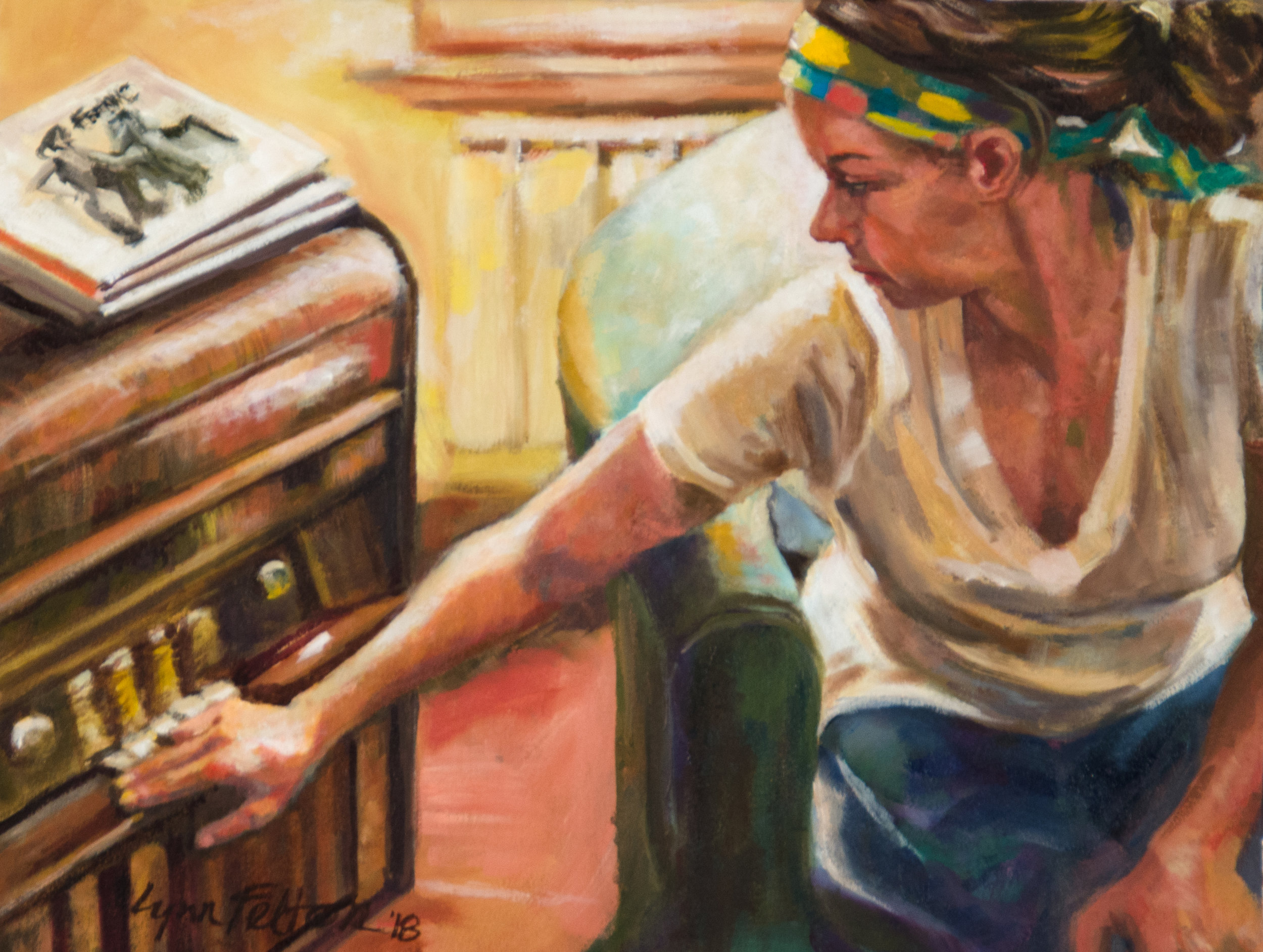 "Play It Again, Annie, Oil on Paper, 22""w x 18""h"