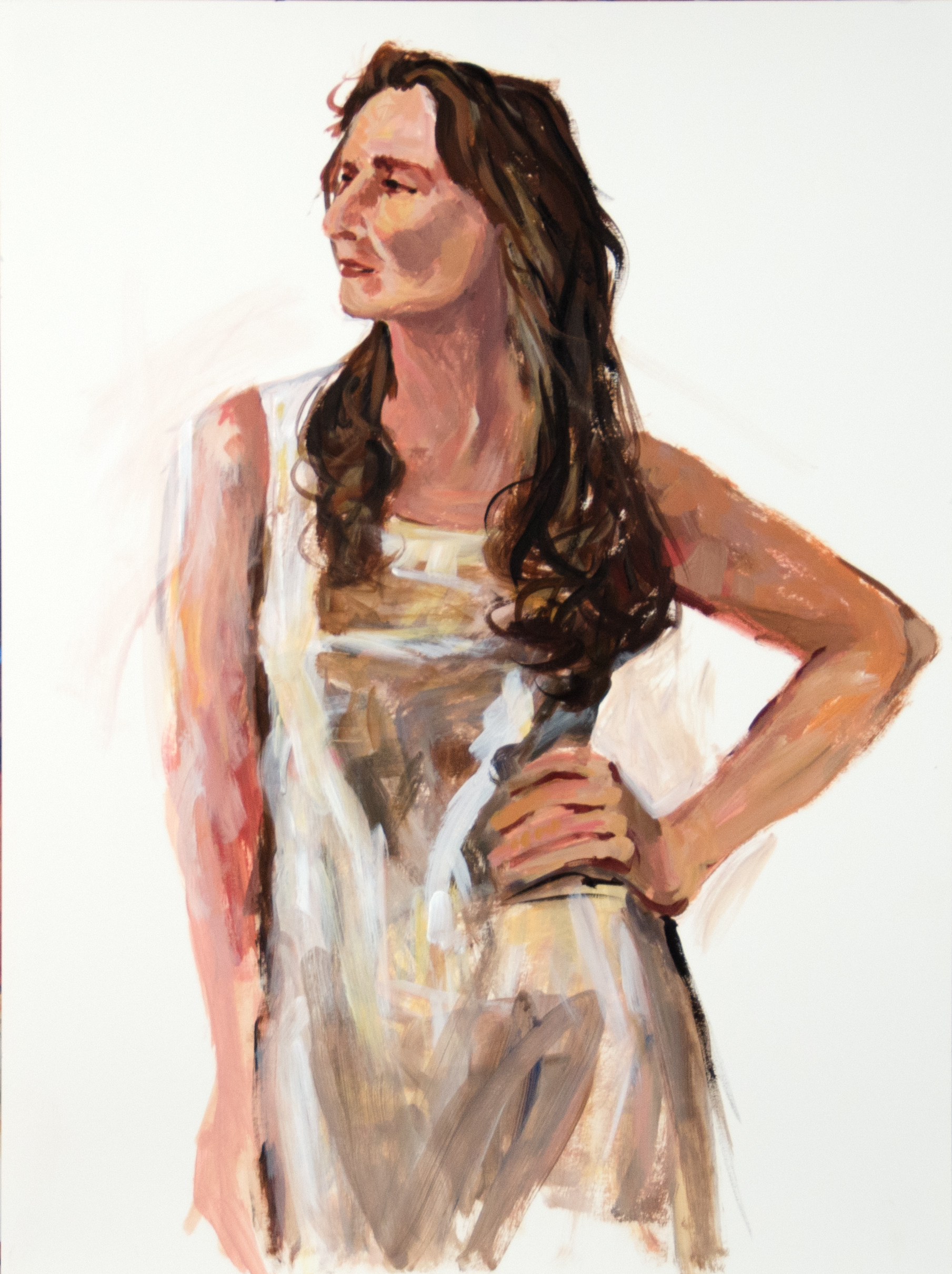 "Sassy In A Nightgown, Acrylic on Paper, 24""w x 30""h"