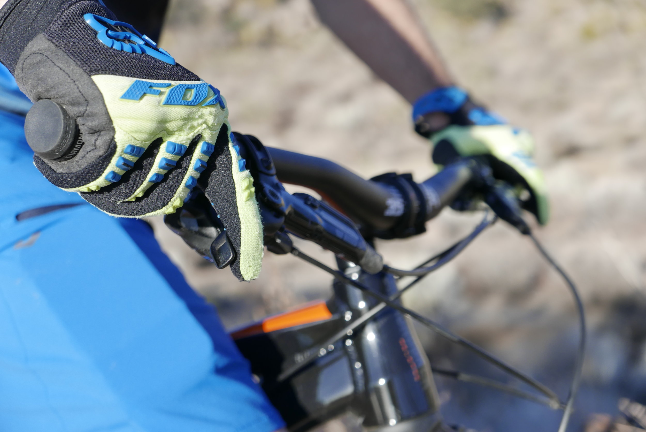 Covering the brake levers with one finger is essential to control. The rider should always use their index finger, and the lever should be between their first and second knuckle. Photo-MST Adventures, Rider-Corey Spoores