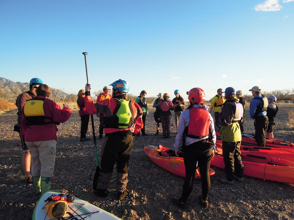 Safety briefing before hitting the water.