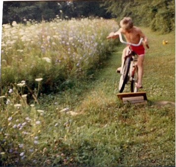 Corey Spoores as a little tyke, hammering away on his bike skills