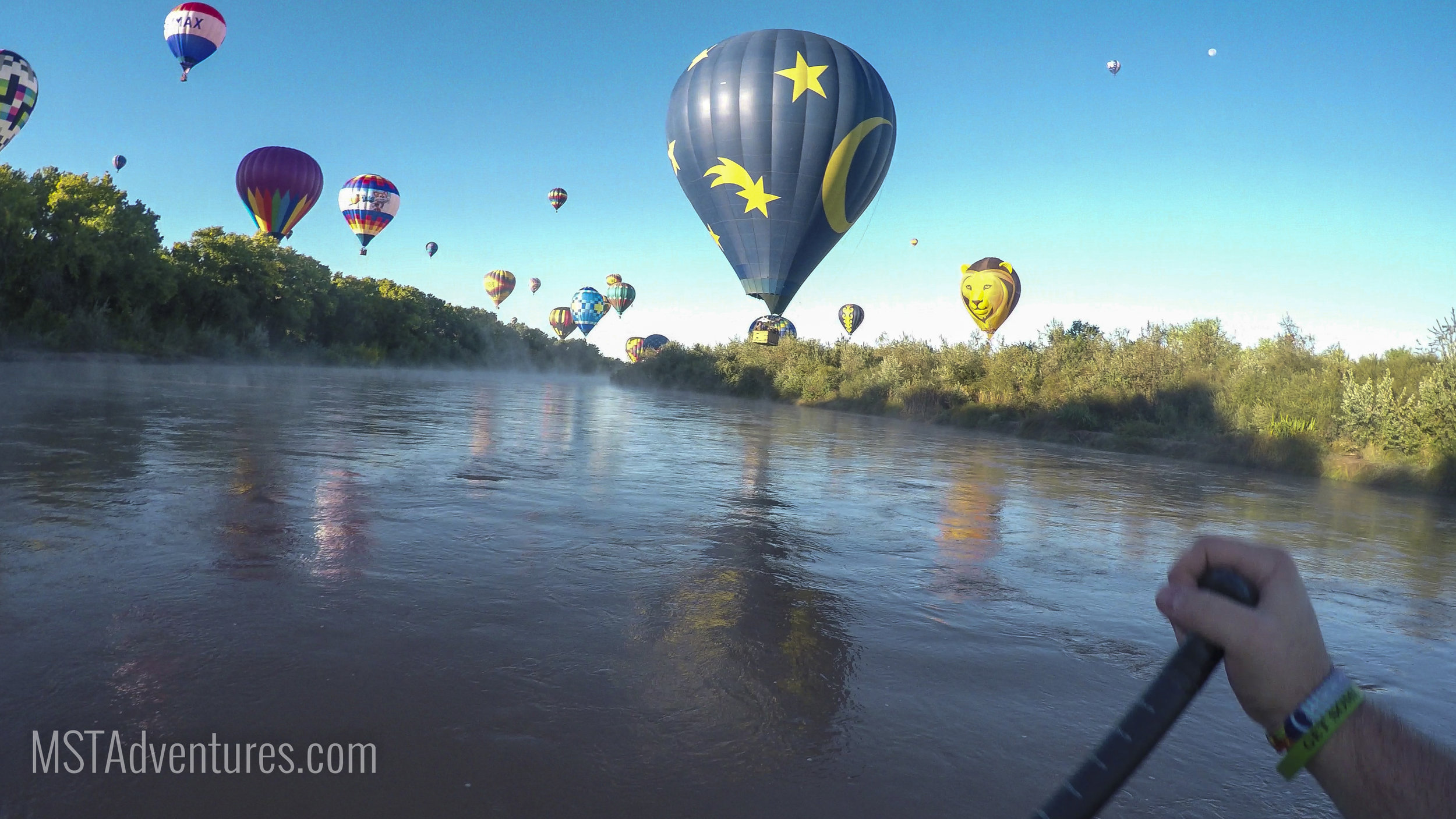 "- As the balloonist travel back south, they line up the river to ""Splash n' Dash"" as a test of their skills"