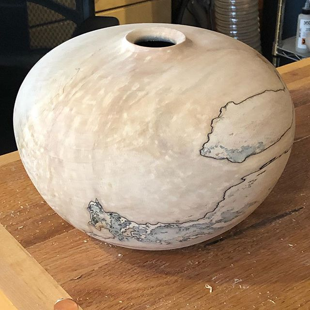 "Another big splayed silver maple, 10""x8"", off to dry slowly.  Hmmm, what finish?  #hollowvessel #woodturning #keepcraftalive #woodworking #wood #craftinwood  #"