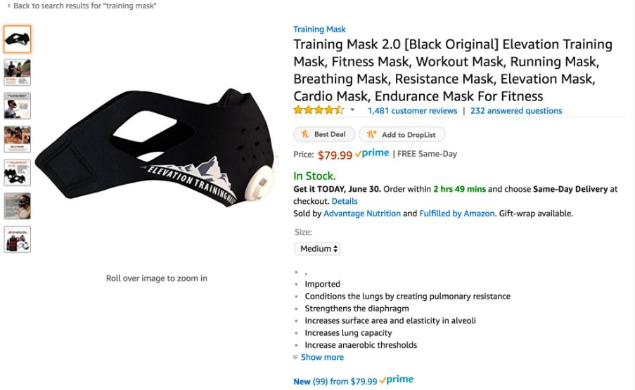 Great Product From  Elevation Training Mask but check out those Key Product Features