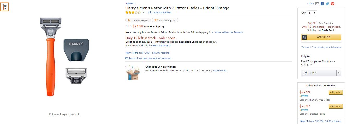 Gilette and Dollar Shave Club should be cheering about the brand quality of Harry's on Amazon.