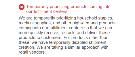 Notice for trying to send in non-essential products
