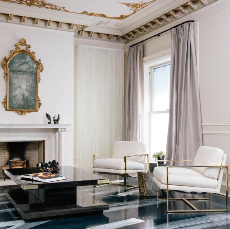 Catherine Kwong created this fabulous space for the San Francisco Decorator Showhouse and included the 951 lounge chair in white with polished brass frame. photo: Bess Friday