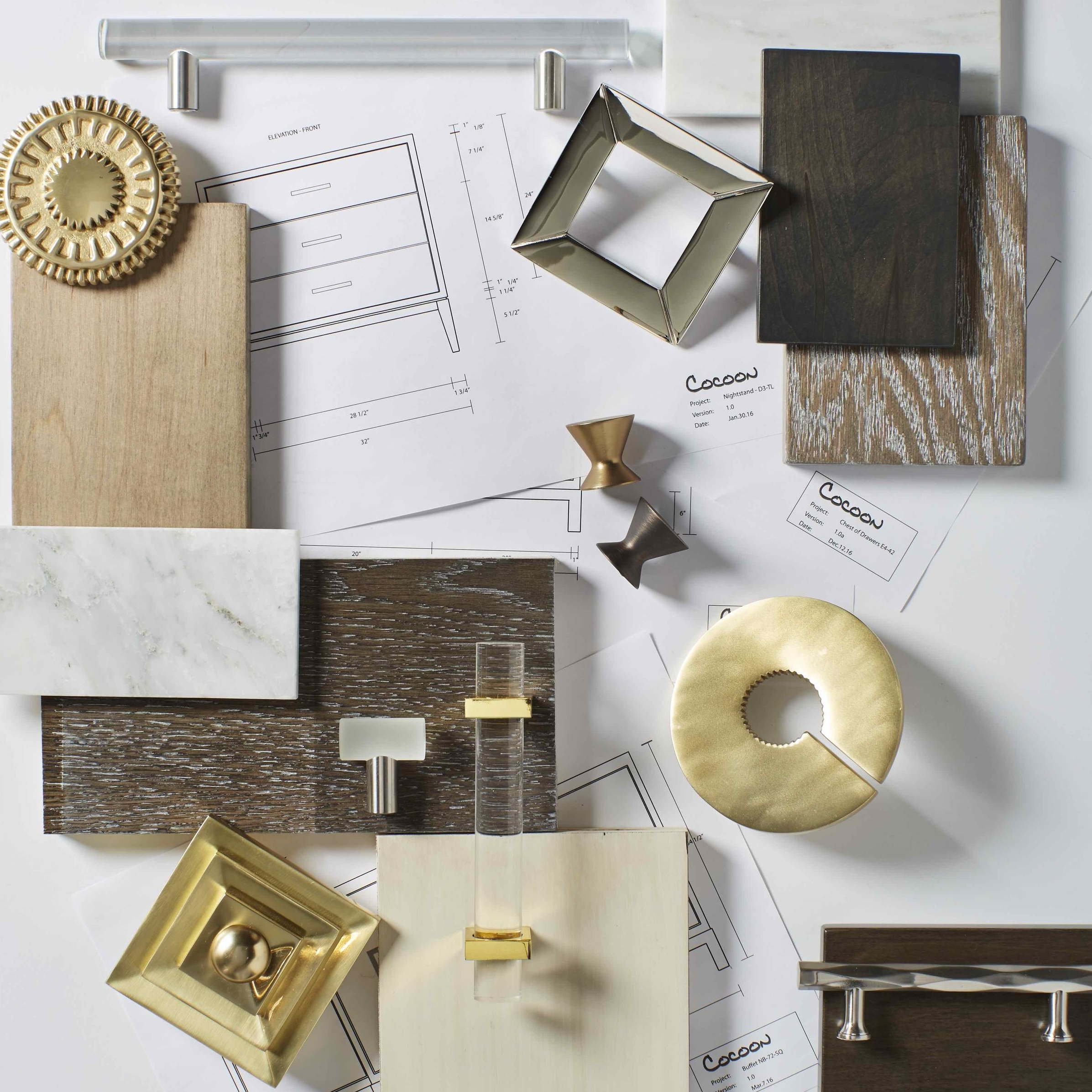 Visit the Cocoon showroom to see wood, finish and hardware samples.