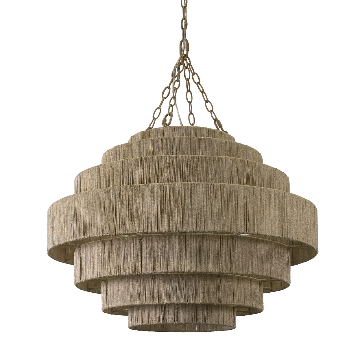 Everly chandelier, abaca rope and metal, 31in diamond x 22inH x 10ft chain,  contact us