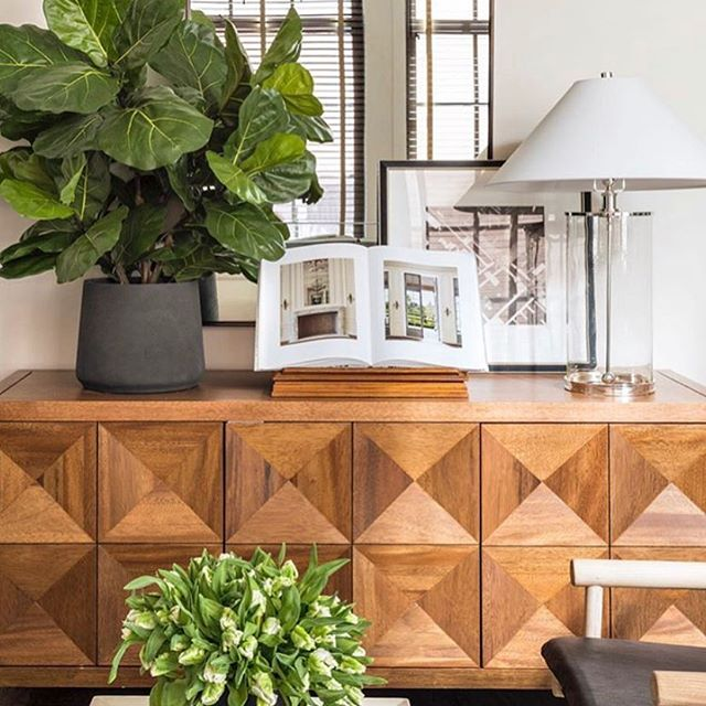 We're all about the organic mix these days!! We are loving the natural vibe created here by the oh so talented @danmazzarini featuring this raised diamond wood buffet available @cocoonfurnishings . . #organic #simplicity #greenery #designinspo #buffet #cabinet #simplystyleyourspace #cocoonathome #currentdesignsituation #texture
