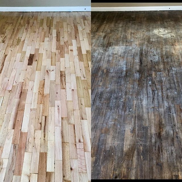 You never know what you're going to find when you scrape off a little dirt. #bradfordwoodfloors #restoration #kalamazoo #bornandraised