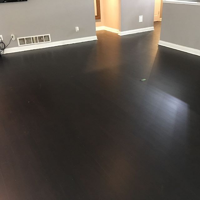 Brazilian cherry floor with an ebony stain #nomorered #darkfloors #darkwoodfloors #mattefinish