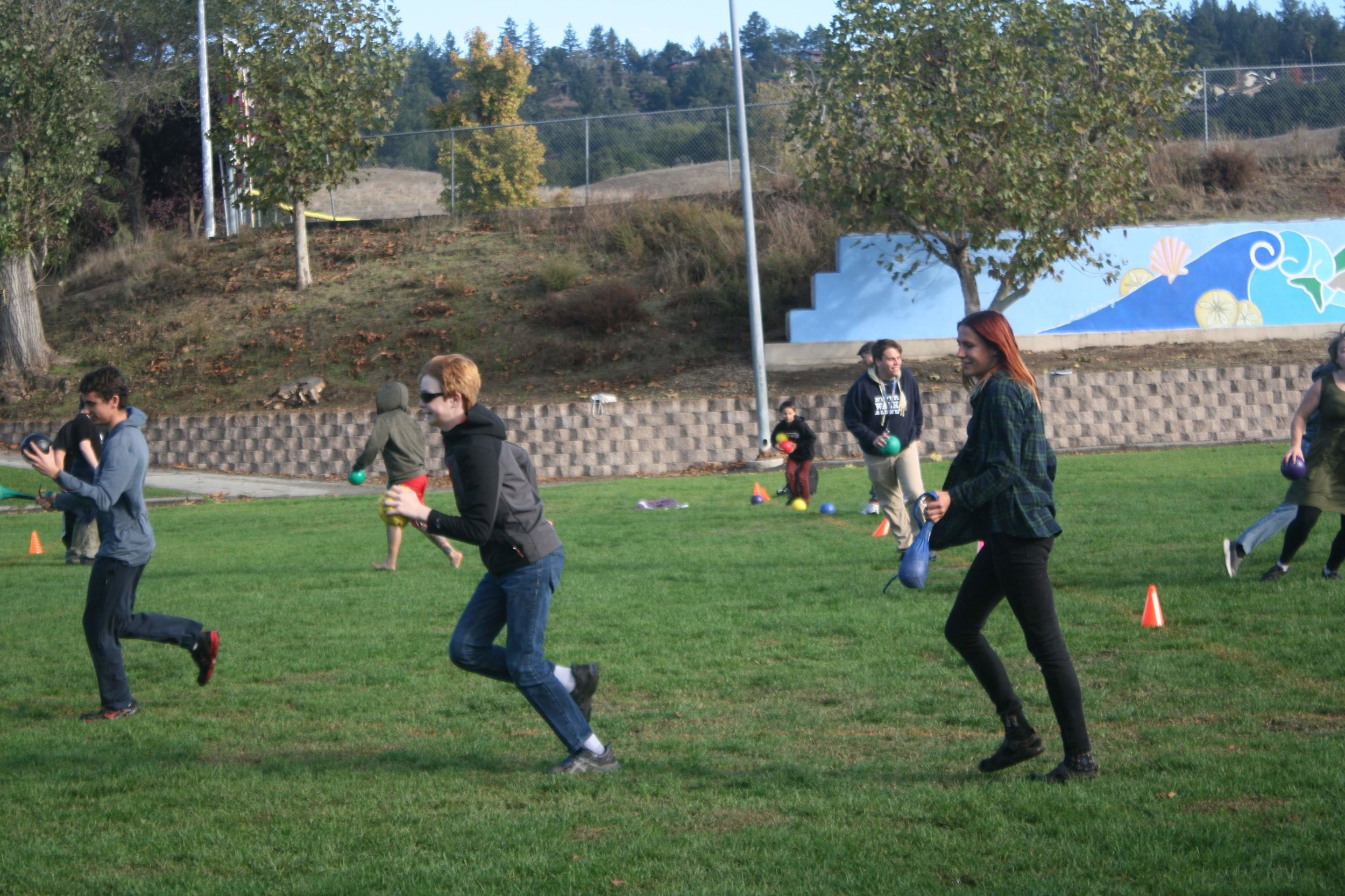 High school students during structured play class