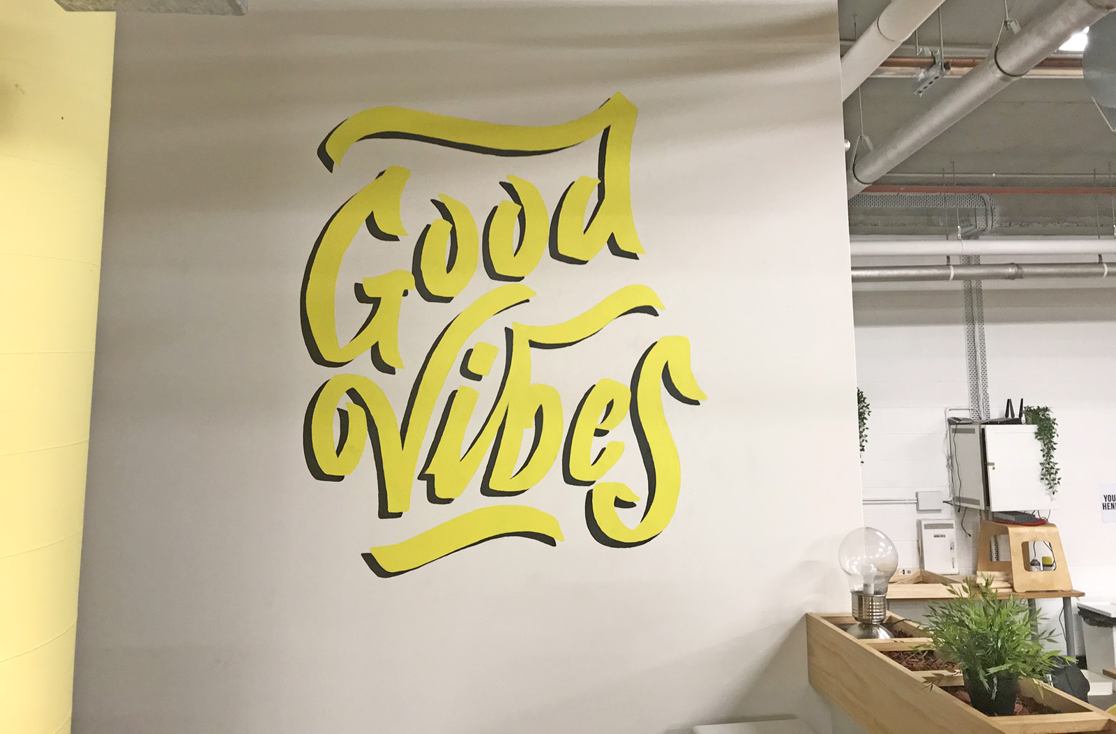 Vibewire Co-Working Space - Custom Lettering & Mural