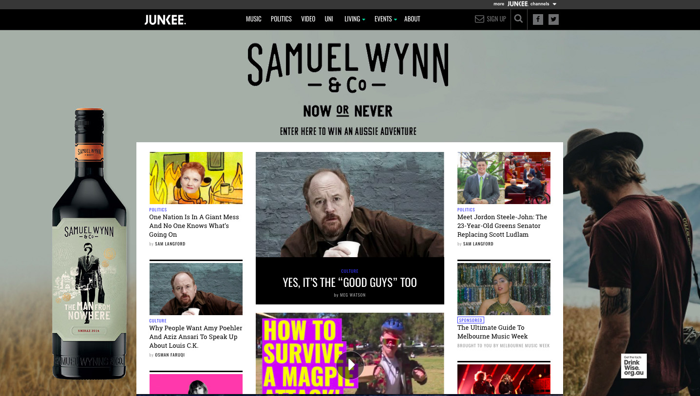 Samuel Wynn & Co. Wines – JUNKEE Media Campaign Design