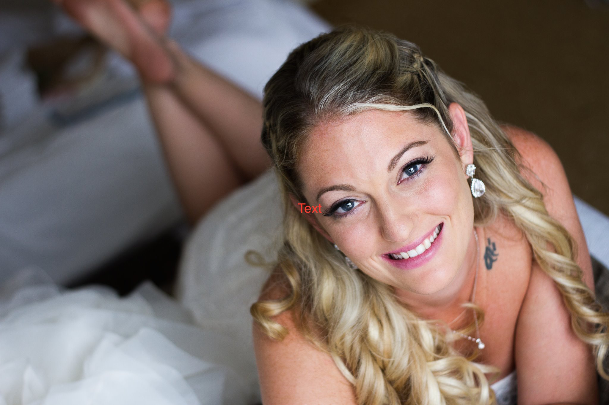 bride after getting hair and makeup done by Jade, Worcester-based hair stylist