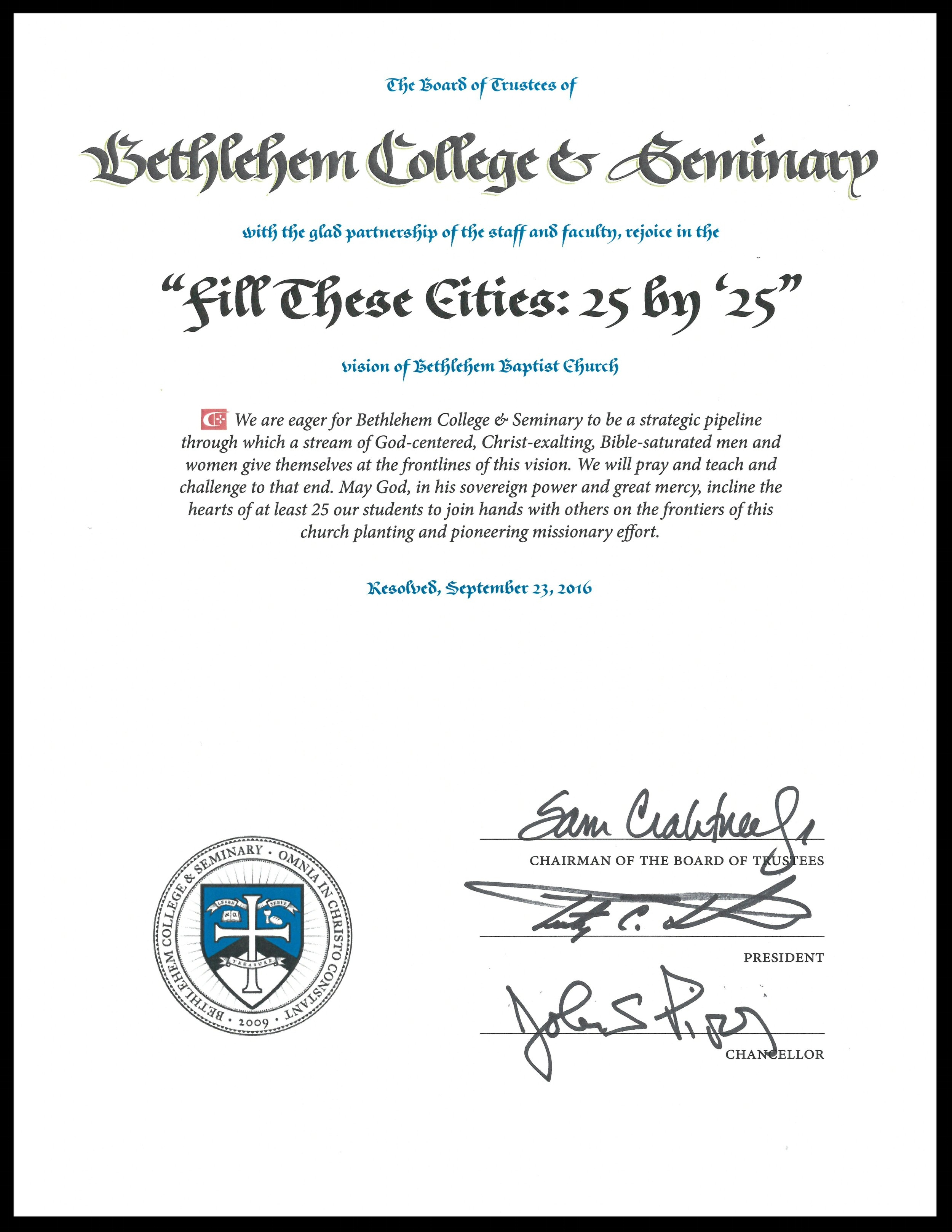 "A formal motion from Bethlehem College & Seminary embracing ""Fill Theses Cities"""