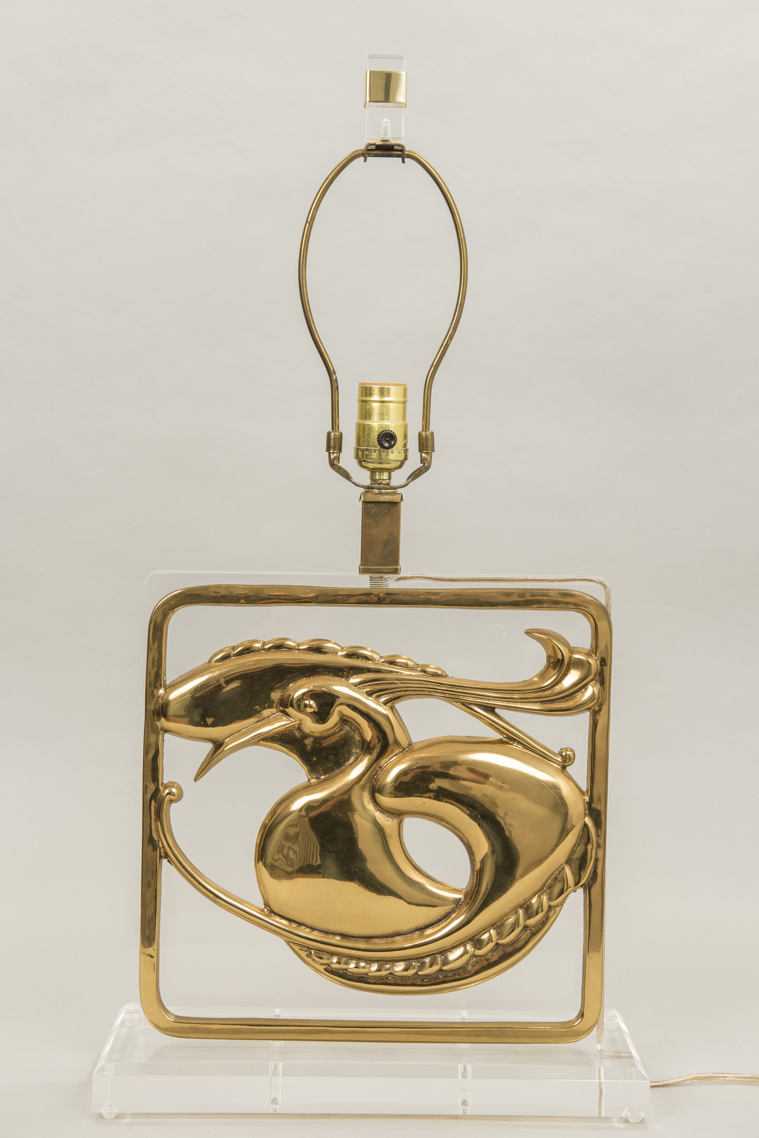 Lucite and brass table lamp