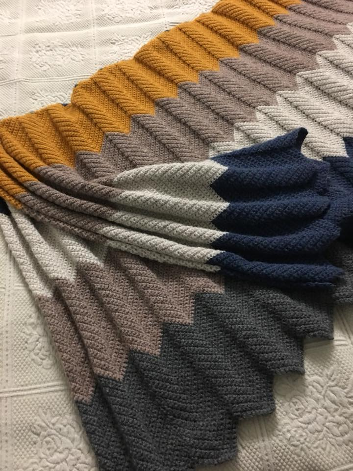 """She writes """"I made it about 3 x wider and just went until it was a good length"""". The finished blanket she created measured roughly 5'x6'. Pattern can be found  here"""