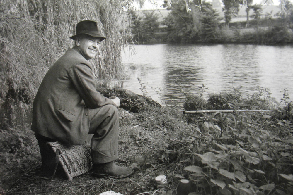 Bob Richards pictured at Redmire Pool a few days after he landed a new British record carp in early October 1951 from the pool.