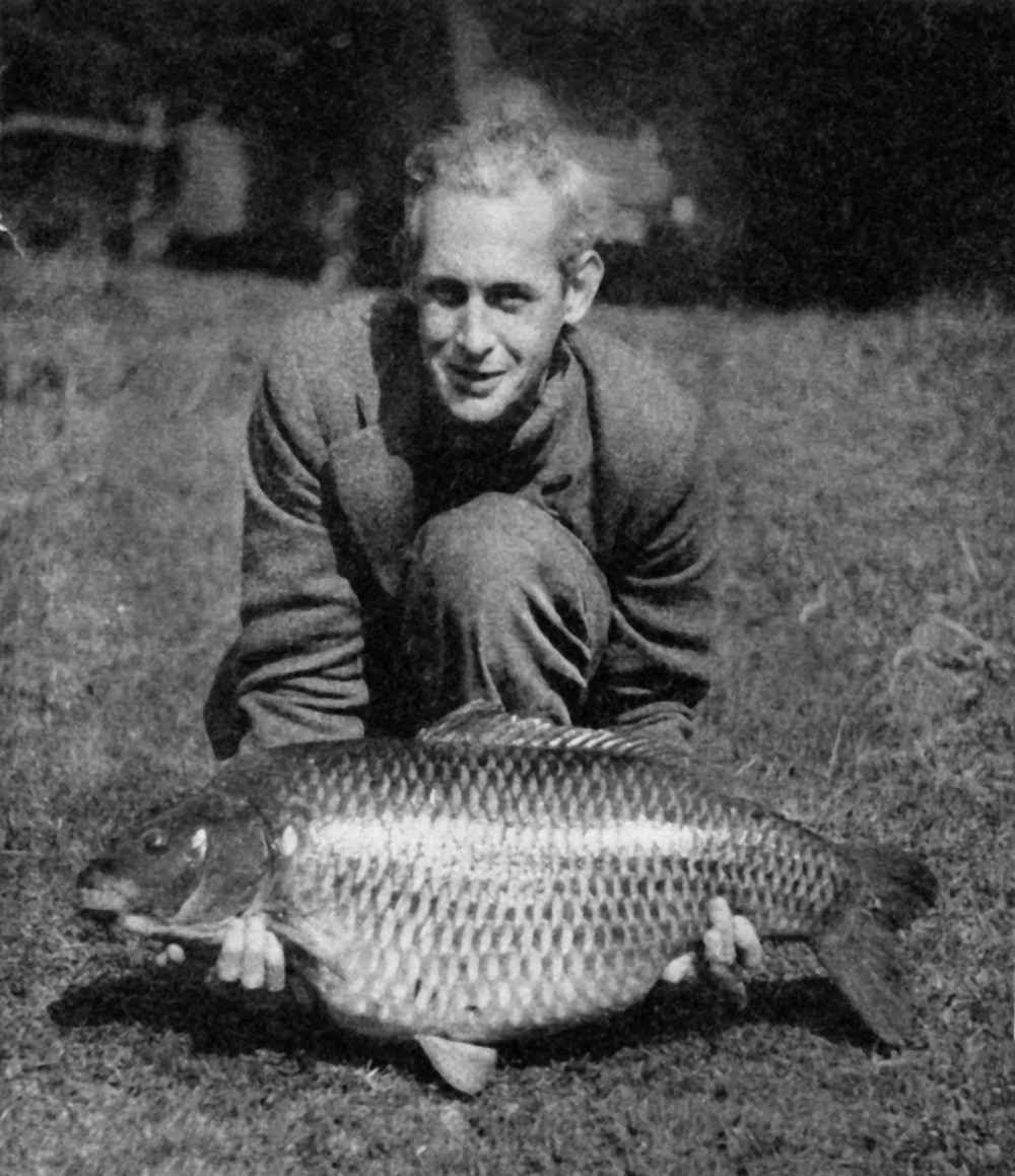 Richard Walker proudly holds his 44lb carp landed in September 1952 from Redmire Pool. At the time it took the British angling public's breath away, many at the time refused to believe that carp grew to this size in the UK.
