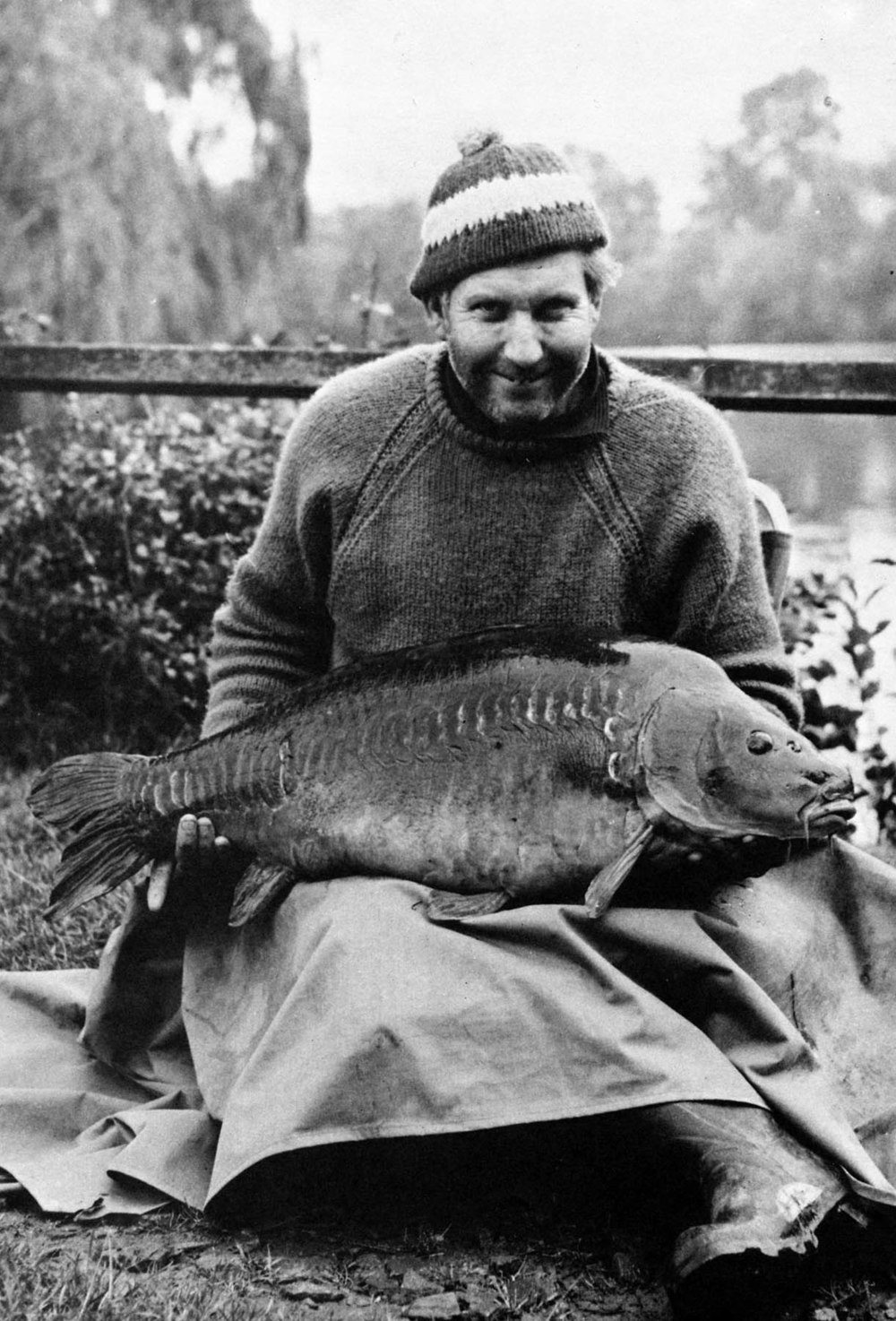 Top carp angler of the day, Jack Hilton, with his first carp from Redmire Pool. At 35lb it was the largest carp recorded in 1967.