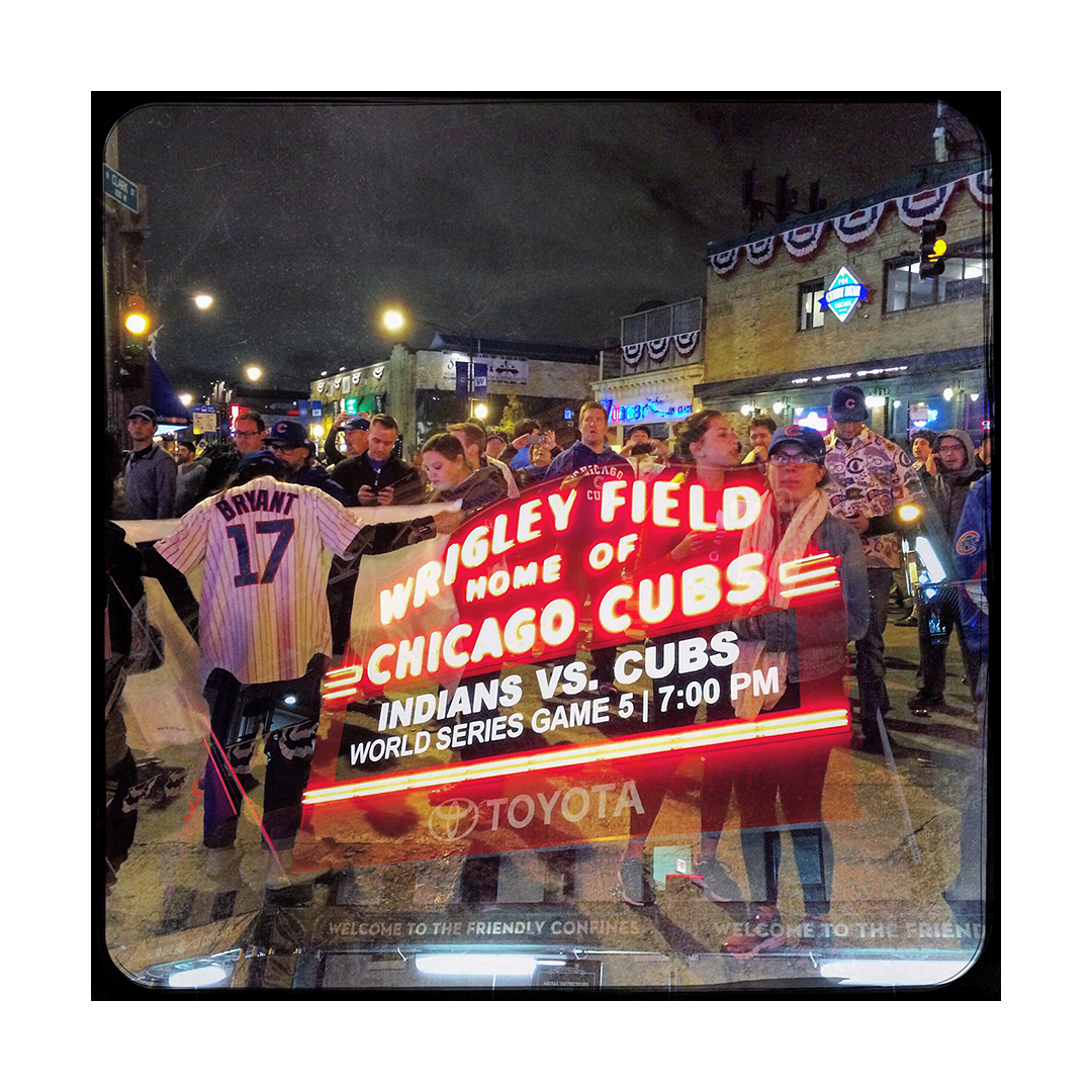 Fans at Clark and Addison, after World Series Game 5