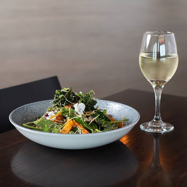 Salad and wine, a balanced diet, right?