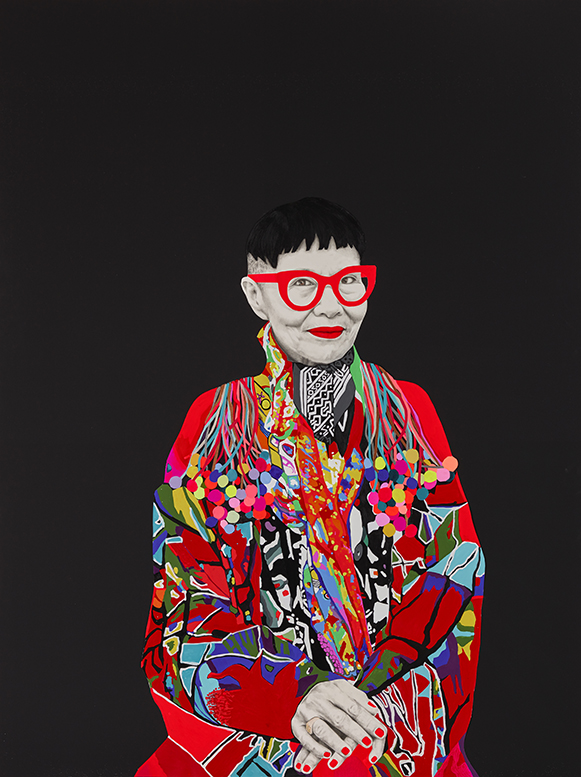 'Jenny Kee AO'   1.5m x 2.0m, Mix media on linen, Carla Fletcher 2015