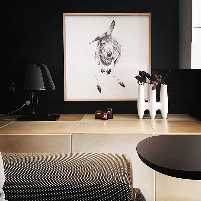 BLACK + WHITE /// 'GREY l' Kangaroo in a beautiful custom natural Oak Frame by @finiframes ----- #kangaroo #drawing #limitededition #collector #artwork #interiordesign #custom #oak #frame #Melbourne #Australia #artist #carlafletcher www.carlafletcher.con