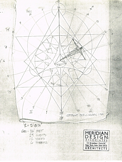 An exploration of the coinciding patterns of the proportions of the human body, our 12-based time keeping tradition, and the sacred geometry of a circle drawn at the radius of a person's height. Turns out such a circle, made using anyone's height, will have a circumference of about 6 of their spans, 12 of their yards, 24 of their cubits and 36 of their feet. The triangle you see at the center is one megalithic yard to a side. Where a common yard is finger tip to center of chest, a megalithic yard (common measurement of many megalithic structures) is from finger tip to shoulder, the way you measure string.  This same pattern can measure the day, by hours, from sunrise to sunset. In the Latitude of NYC it happens that, from any standing place, the most northerly summer sunrise is 30 degrees north of east, coinciding with the actual times of sunrise and sunset on a 24 pointed mandala.