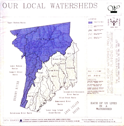 In blue is Westchester NY. This map shows the many watersheds in the Westchester / Fairfield County region.  There is no Place on our earth which is not in a watershed - your yard, the building where you work. Every where, when you pour something on the ground, it is conveyed through the watershed where you are through river systems and aquifersinto our oceans.
