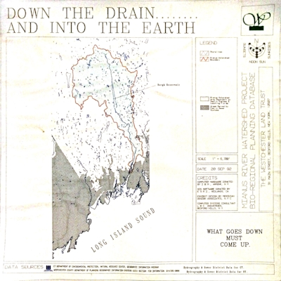 Outlined in red, the Mianus Watershed. The grey hatching shows the areas in the region where human habitation is intense enough that municipalities have been forced to create public sewer systems. The areas without hatching stiil put their waste directly into the land they inhabit, trusting the earth to digest that waste and render it safe.