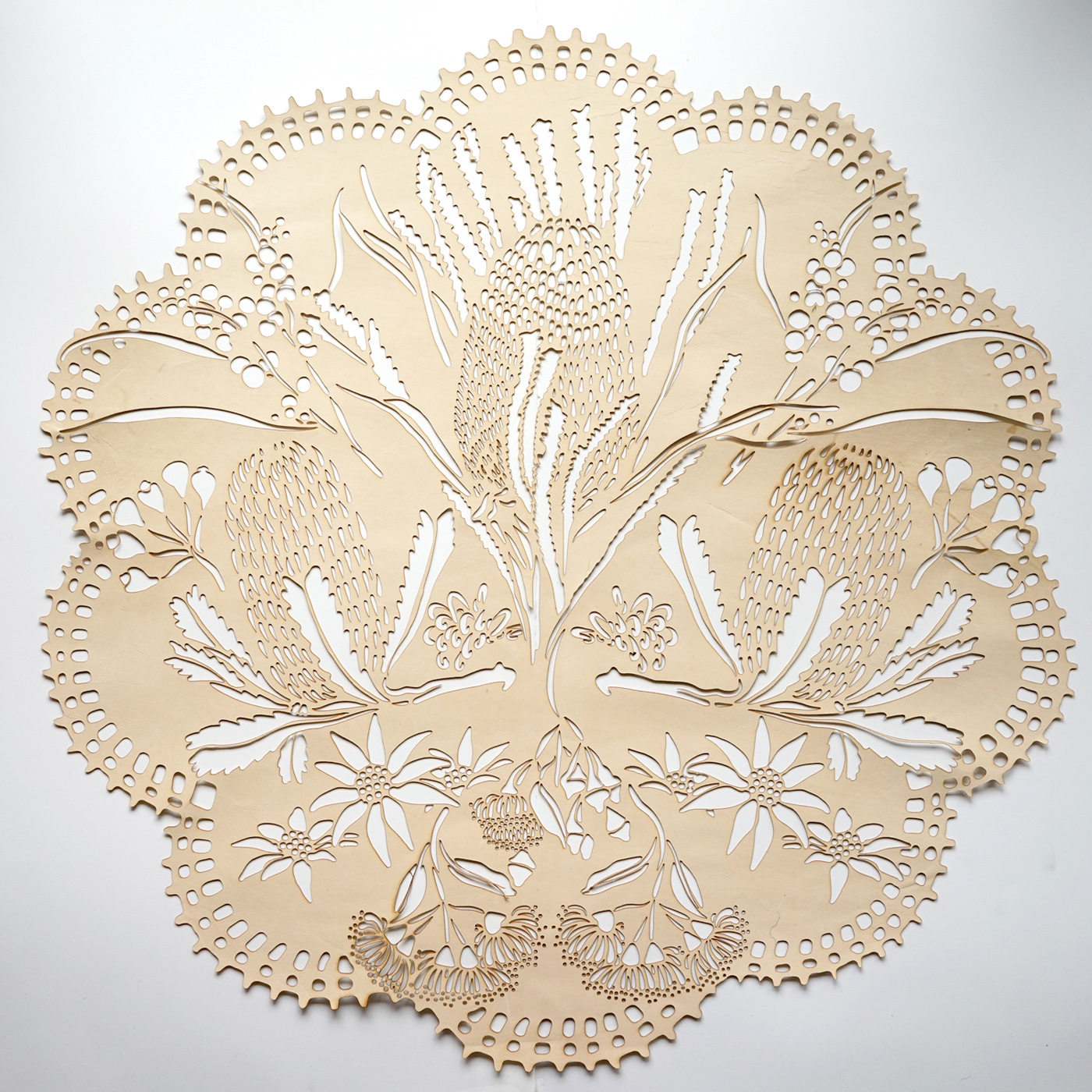 My work Verdant Skin has been selected as a finalist in the Pro Hart Outback Art Prize at  Broken Hill Regional Gallery . The exhibition is open from the 3rd of August to 23rd of September 2018.    Laser cut from kangaroo leather 'Verdant Skin' distills the outback landscape into the purely decorative. The curl of the leather is unrestrained, maintaining a relationship to the body that was underneath. The intricately cut pattern is reminiscent of lace and doilies, transforming the land into a domestic space