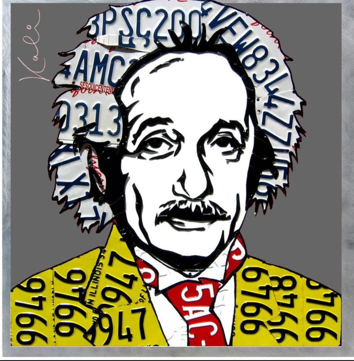 "Einstein   License Plates and Painted aluminum  32"" x 32"""