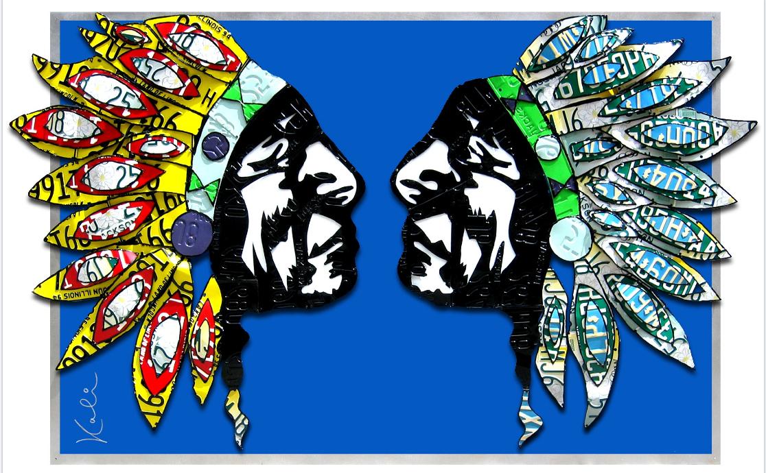 "Native Headdress   License plates and Painted Aluminium  75""x 48"""