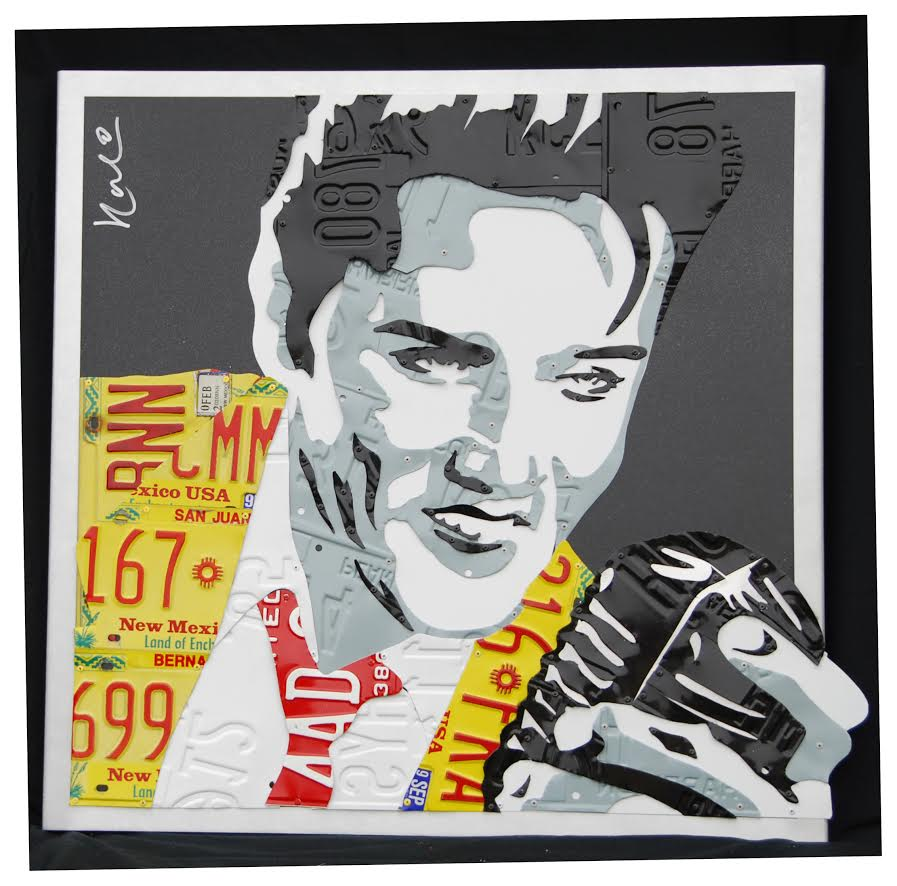"Elvis     License Plates and Painted Aluminum  32"" x 32"""